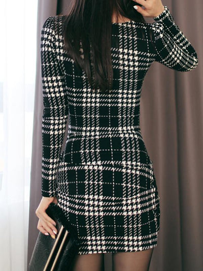 V-Neck Plaid Long Sleeve Mini Bodycon Dress