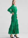 Elastic Waist Ruffles Big Hem Green Maxi Dress