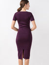 Vintage Slit Patchwork O-Neck Bodycon Dress