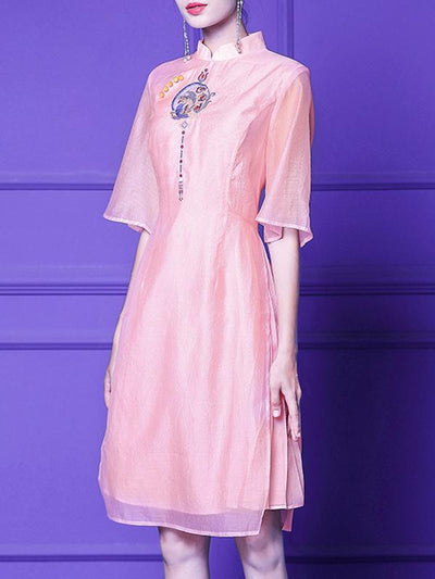 Embroidery Stand Collar Organza Skater Dress