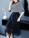 Knit Stripe Asymmetric Patchwork Sweater Dress