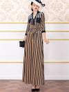 Stripe Elastic Waist Pocket Lace-Up Maxi Dress