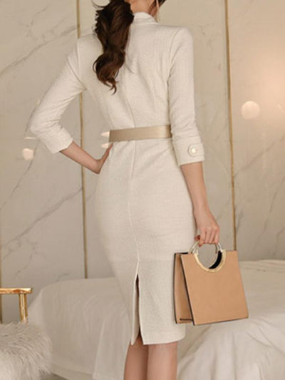 Lapel Collar Button High Waist Bodycon Casual Dresses (Without Belt)