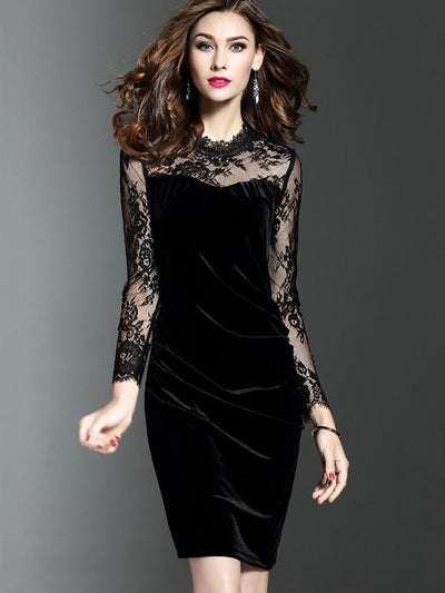 Hollow Out Patchwork Lace Bodycon Dress
