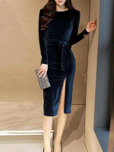 Slit Lace-Up O-Neck Long Sleeve Bodycon Dress