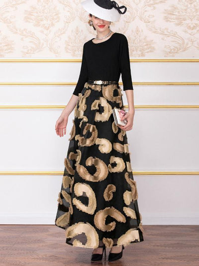 O-Neck 3/4 Sleeve Big Hem Print Maxi Dress (Without Belt)