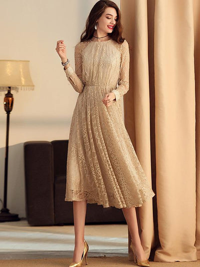 Elegant Lace Hollow Out Long Sleeve Maxi Dress