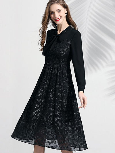 Gathered Waist Bow Tie Elegant Long Sleeve Skater Dress