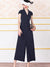Stripe Lapel Collar Skater Lose Jumpsuit