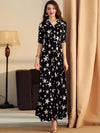 Elagant Polk Dots V-Neck Big Hem Maxi Dress