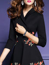 Embroidery Turn-Down Collar 3/4 Sleeve Skater Dress
