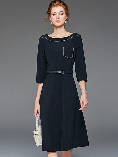 Brief O-Neck 3/4 Sleeve Belted Gathered Waist Skater Dress