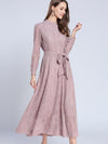 Stand Collar Lace Belted Hollow Out Long Sleeve Skater Dress