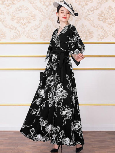 V-Neck Print Gathered Waist Big Hem Bowknot Floral Maxi Dress