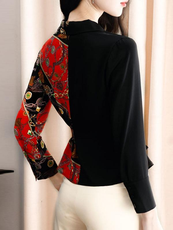 Lapel Collar Bowknot Belted Hit Color Print Blouse