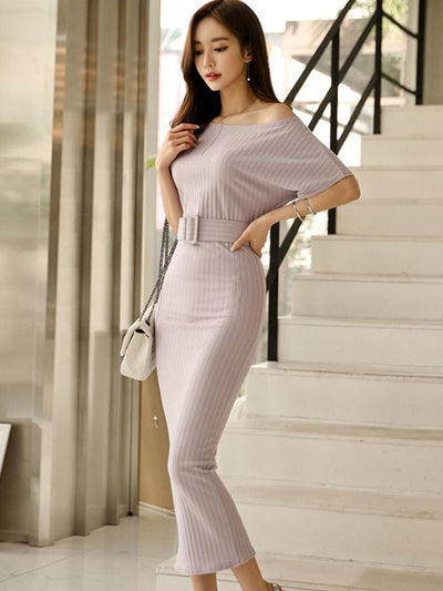 Stylish Short Sleeve Belted Pure Color Stripe Bodycon Dress