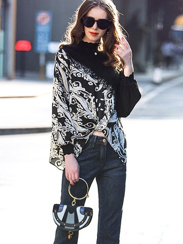 Irregular Print Lace Stitching Puff Sleeve Blouse