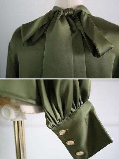 Bow Tie Stand Collar Bowknot Pure Color Blouse