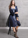 Vintage Embroidery Organza Stitching Boat Neck Skater Dress