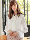Elegant Bow Tie Pure Color Lace Flare Sleeve Blouse