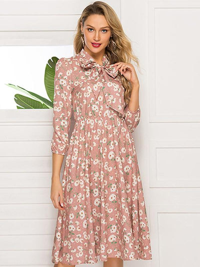 Bowknot Tie Print Floral Stand Collar Skater Dress