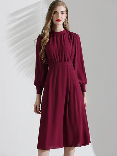 Stand Collar Chiffon Pure Color Long Sleeve Skater Dress