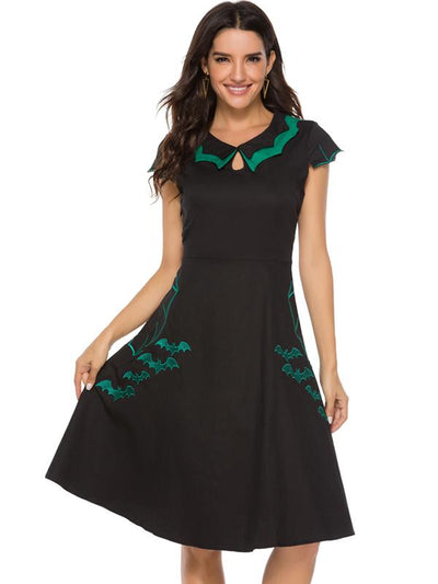 Halloween Floral Peter Pan Collar Embroidery Skater Dress