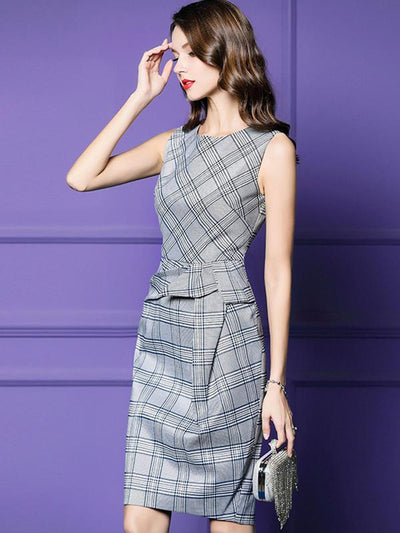 Stylish Plaid Pleated O-Neck Sleeveless Bodycon Dress