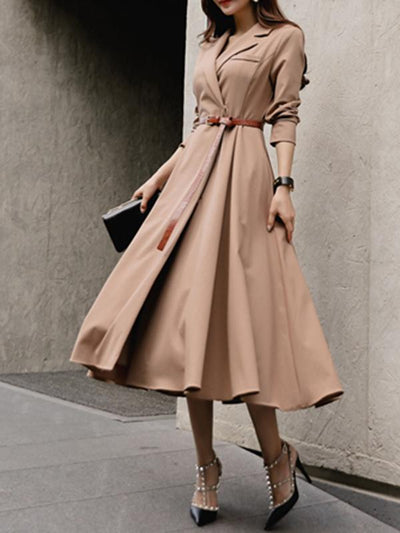 Big Hem Belted Lapel Collar Gathered Waist Skater Dress