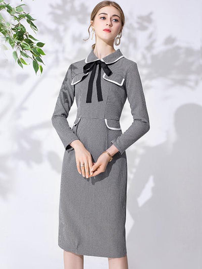 Peter Pan Collar Bowknot Stitching Plaid Bodycon Dress