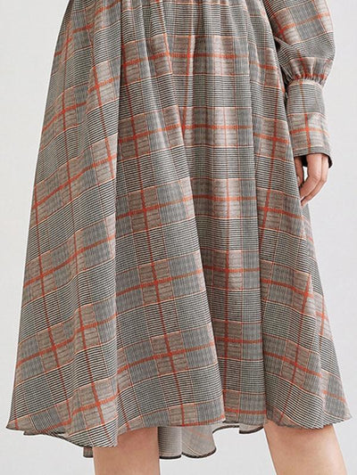 Plaid Turn-Down Collar Gathered Waist Stitching Skater Dress