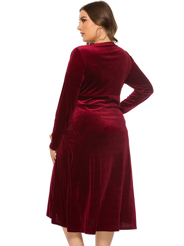 Oversize V-Neck Pleated Velour Gathered Waist Skater Dress