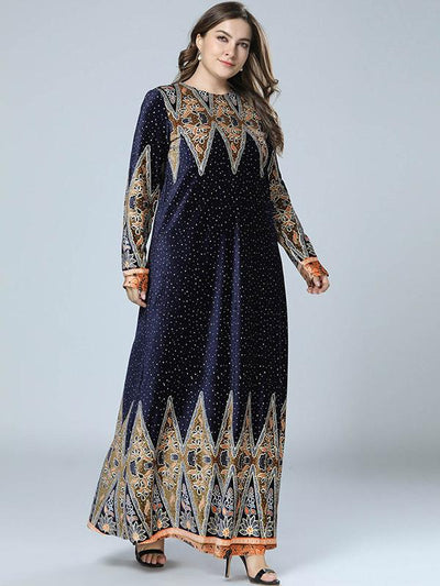 Vintage Oversize Big Hem  Print Floral Velour Maxi Dress