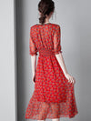 Gathered Waist Pleated Print Falbala Stitching Skater Dress