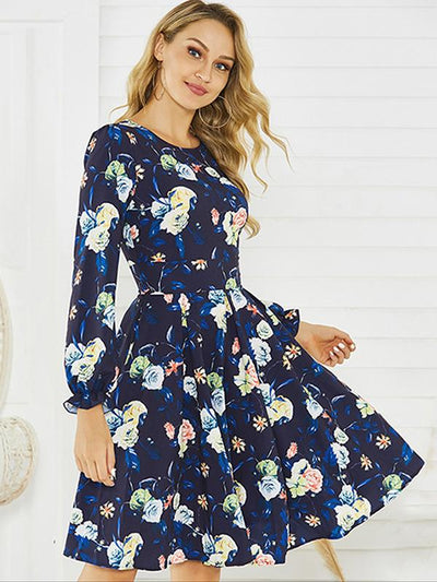 O-Neck Print Floral Vintage Falbala Skater Dress