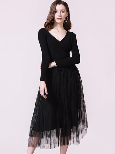 V-Neck Stitching Mesh Pure Color knit Sweater Dress