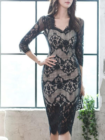Sexy Lace Hollow Out Mesh Stitching Print Bodycon Dress