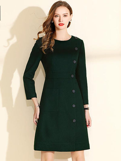Casual Stitching Single Breasted fastener Wool Skater Dress