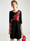 O-Neck Stitching Lacing Print Half Sleeve Shift Dress