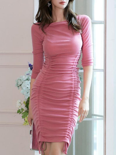 Sexy Cute O-Neck Pleated 3/4 Sleeve Drawstrings lacing Bodycon Dress