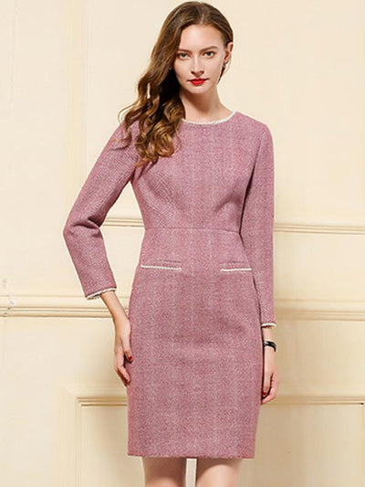 Brief Chic Woolen beading Pocket Plaid Bodycon Dress