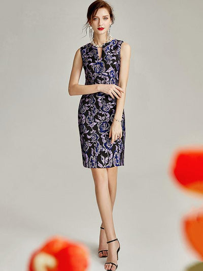 Irregular V-Neck Jacquard Floral Print Embroidery Bodycon Dress