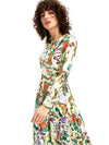 Vintage Sweet O-Neck Floral Print Long Sleeve  Maxi Dress