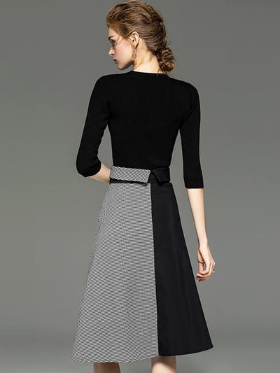 Fake Two Piece Belted Stitching Sweater Dress