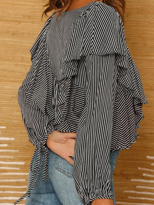 Fashion Stitching Asymmetric Falbala drawstring Blouse