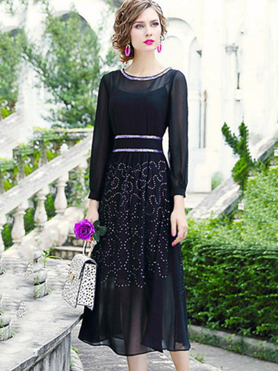 Brief Rhinestone Chiffon Stitching Perspective Maxi Dress
