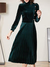 Vintage Velour Green Half High Collar Pleated Maxi Dress