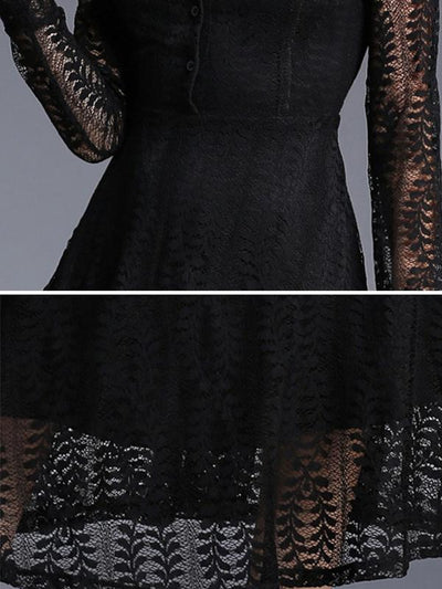 Stylish Perspective Crochet Jacquard Lace Maxi Dress