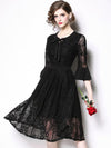 Fashion Bowknot Lacing Perspective Sleeve Lace Skater Dress