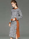 Stylish Stitching Hit Color Fastener Slit Two Piece Sweater Dress